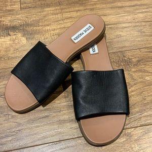Karlaa black leather upper Steve Madden slip on sandals